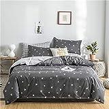 Fostudork Home Bedding Set Grey Blue Duvet Cover AB Side Bed linens Flat Sheet Pillowcase Bedclothes Adult Grid Home Bedding Bed Cover Set,houlai,Twin Size 3pcs,Flat Sheet