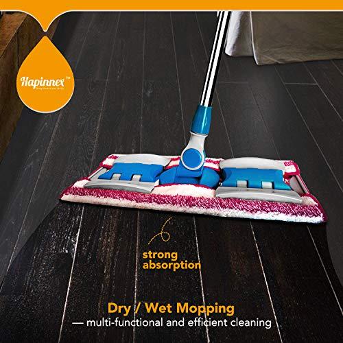 HAPINNEX Hardwood Dust Microfiber Floor Mop - 4 Washable & Reusable Microfiber Flat Mop Cloths/Pads - For Home Kitchen Bathroom Cleaning - Wet or Dry Usage on Hardwood, Laminate & Tile