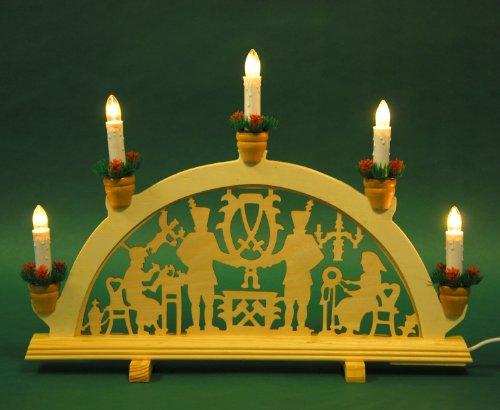 yanka-style Schwibbogen Lichterbogen Leuchter Bergleute ca. 42 cm breit 5flammig Weihnachten Advent Geschenk Dekoration (10490)