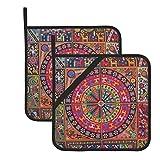 wellay Oaxaca Mexicano México tribal maya boho, soporte para ollas de viaje, resistente al calor, para cocinar, asar y hornear, juego de 7,1 x 20,3 cm