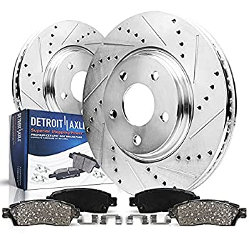 Detroit Axle - Pair  2  280mm Front Drilled and Slotted Disc Brake Kit Rotors w/Ceramic Pads w/Hardware for 00-06 VW Golf - [98-06 Beetle] - 99-05 Jetta - [09-10 Beetle]