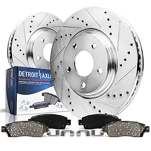 Detroit Axle - 308MM Drilled & Slotted Rear Brake Kit Rotors & Brake Pads w/Clips for 10-12 Infiniti EX35 - [11-12 G25] - G35 - [07-13 G37 Sedan No Brembo Brake] - M35 M45 350Z Non-sports