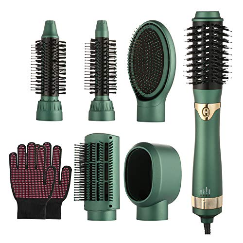 Hair Dryer Brush and Volumizer, 6 in 1 One-Step Hot Air Brush, Professional Women Hair Dryer for Rotating Straightening, Curling, Massage, Salon Negative Ion Ceramic Electric Blow Dryer(Green)