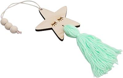 Green: Gluckliy Wooden Wall Door Closet Hanging Stars Tassel Decoration Ornament for Kids Room Home Decor (Green)