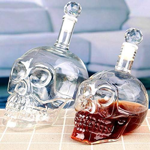 Halloween Cristal Cráneo Cabeza Botella Whisky Vodka Vino Decantador Botella Whiskey Cristal Cerveza Vidrio Spirits Taza Agua Vidrio Bar Casa Diseño Bar Bar único Supplific 313 (Capacity : 125ml)