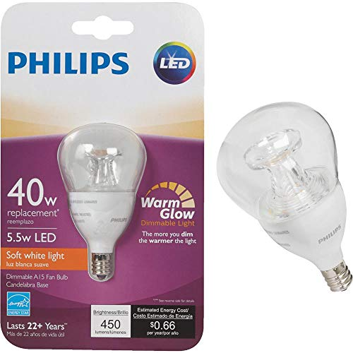 Philips LED Dimmable A15 Soft White Light Bulb with Warm Glow Effect 450-Lumen, 2700-2200-Kelvin, 5.5-Watt (40-Watt Equivalent), E12 Base, Clear, 4-Pack