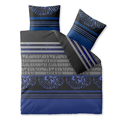 CelinaTex Harmony Bettwäsche 200 x 200 cm Mikrofaser Bettbezug Jada Streifen Blumen Schwarz Grau Violett