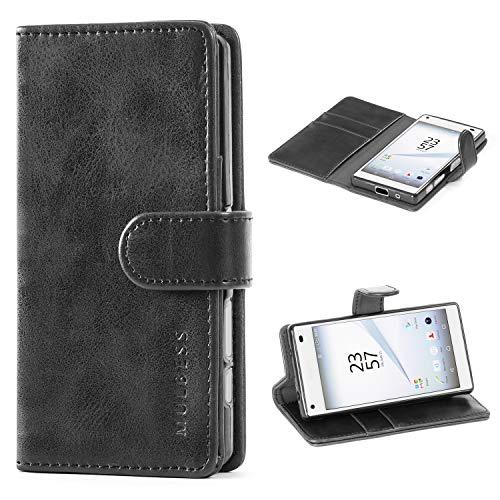 Mulbess Handyhülle für Sony Xperia Z5 Compact Hülle Leder, Sony Xperia Z5 Compact Handy Hüllen, Vintage Flip Handytasche Schutzhülle für Sony Xperia Z5 Compact Hülle, Schwarz