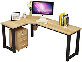 Corner L Shape or Flat Wall Home Office Computer PC Desk Old Oak Stressed Effect, Assemble in 4 Different Ways