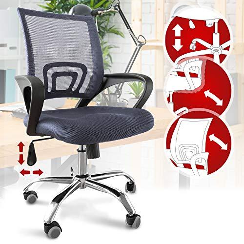 Bürostuhl - ergonomisch, mit Armlehnen und Rollen, Netzbezug und Wippfunktion, höhenverstellbar, bis 120kg belastbar, grau - Chefsessel, Drehstuhl, Schreibtischstuhl, Computerstuhl für Home Office