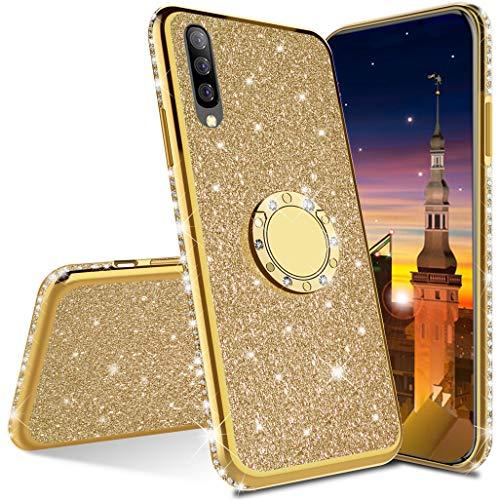 MRSTER Funda para Samsung Galaxy A70, Glitter Bling TPU Bumper Brillante Diamante Protector Case con Soporte Ring Kickstand de 360 Grados Carcasa para Samsung Galaxy A70. Gold