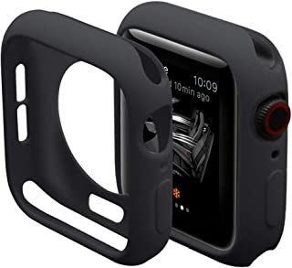 Hontao Ultra Thin Soft TPU Shockproof Built in Bumper Protector for iWatch Case 38mm 40mm 42mm 44mm Series 5/4/3/2/1 Black 38mm