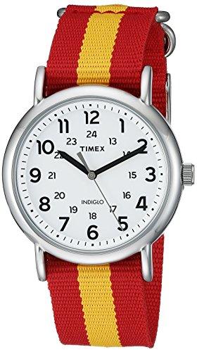 Timex Unisex TW2P67900 Weekender Red/Yellow Stripe Nylon Slip-Thru Strap Watch