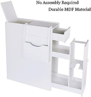 UStyle Bathroom Storage Floor Cabinet Wood Slim Bathroom Cabinet Standing Toilet Paper Storage Container Tight Space Bathroom Organizer Kitchen Storage Cabinet with Drawers Magazine Rack White