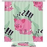 Cortina de ducha para baño, diseño de oveja, color rosa perezoso, con 12 ganchos
