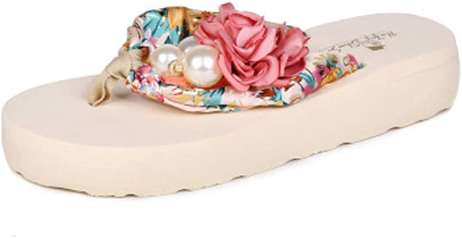 Women Flip Flops,Beach Satin Pearl Flower Flat Slippers