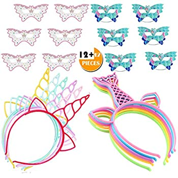 24PCS Headbands Masks Party Favors for Kids Girl Boy Unicorn Mermaid Style  Perfect Party Gift Carnivals Prizes for Cosplay/Birthday/Spa/Halloween/Christmas Party Costume Daily Decorations