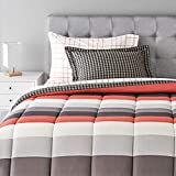 Amazon Basics 5-Piece Light-Weight Microfiber Bed-In-A-Bag Comforter Bedding Set - Twin/Twin XL, Red Simple Stripe