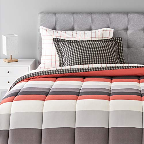 Amazon Basics 5-Piece Light-Weight Microfiber Bed-In-A-Bag Comforter Bedding Set - Twin, Red Simple Stripe