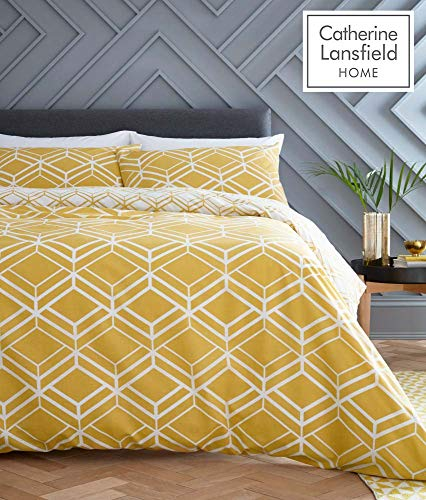 Catherine Lansfield Network Geo Easy Care Double Duvet Set Ochre