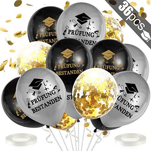 Bluelves Bestandene Prüfung Luftballon Deko Set, Helium Ballons für Schulabschluss Abi Abitur Studium Führerschein Abschluss Graduierung Party-Silber Schwarz
