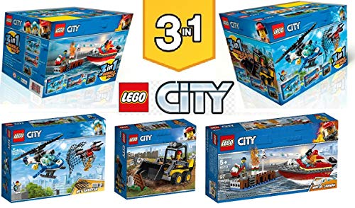 LEGO City 3 en 1 paquete triple 66643 – Sky Police Drone Chase 60207 + Dock Side Fire Boat 60213 + cargador de construcción 60219.