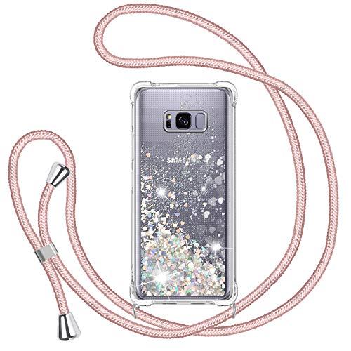 TUUT Funda Glitter Liquida con Cuerda para Samsung Galaxy S8 Plus, Glitter Cristal Suave Silicona TPU Bumper Protector Carcasa, Brillante Arena Movediza con Colgante Ajustable Cordón Case -Oro Rosa