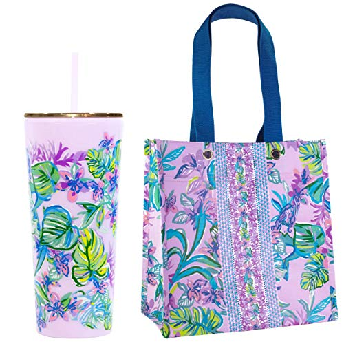 Lilly Pulitzer Purple 24 Ounce Double Wall Insulated Tumbler with Straw and Reusable Market Shopper Bag, Mermaid in the Shade