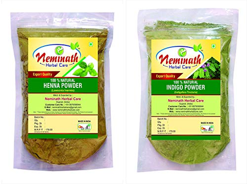 Henna Leaves (Lawsonia Inermis), Indigo Leaves (Indigofera Tinctoria) Powder (Pack Of 2) Each 100 gm (3.52 OZ)
