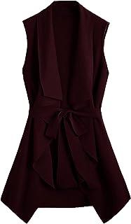 SheIn Women's Plus Size Open Front Sleeveless Lapel Outerwear Vest Cardigan Belted Jacket