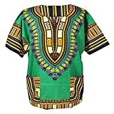 Lofbaz Unisex Dashiki Stampa Tradizionale Africana Hippy Boho XS Green