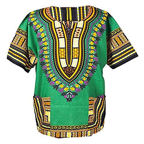 Lofbaz Unisex Dashiki Tradicional De Impresión de África Camisa Hippy XS Verde