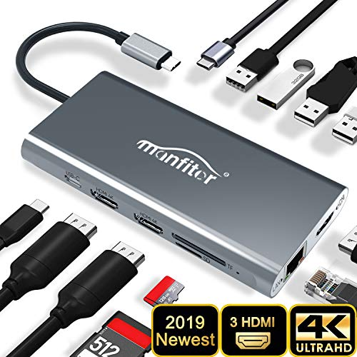 Manfiter USB C HUB Adapter, Latest 12 in 1 Type C Hub Triple Display USB C Docking Station with 3 HDMI/USB3.0 Type C/4 USB Ports/100W PD 3.0/SD&TF Card Reader/Ethernet for MacBook&Type C Laptops