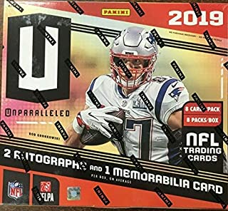 2019 Panini Unparalleled NFL Football HOBBY box (8 pks/bx, ONE Memorabilia card & TWO Autograph cards/bx)