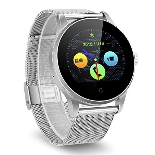 Excelvan K88H Smartwatch Smartwatch Bluetooth V4.0 Schrittzähler Herzfrequenzmonitor Sleep Monitor Call/SMS Reminder, silberfarben