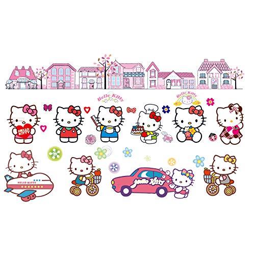 SHIHE Kitty Wall Paste Children's Room Wall Decoration Warm Girl Bedroom Wall Painting Sticker Cartoon Hello Kitty Sticker