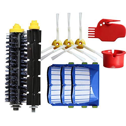 Remplaçant Aspirateur Filtres kit Pièces accessoires pour iRobot Roomba 600 Series, 1x brosse à rouleau 1x brosse 3x brosse latérale 3x Filtre 2x nettoyant pour aspirateur