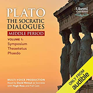 The Socratic Dialogues Middle Period, Volume 1     Symposium, Theaetetus, Phaedo              By:                                                                                                                                 Plato,                                                                                        Benjamin Jowett - translation                               Narrated by:                                                                                                                                 David Rintoul,                                                                                        Hugh Ross,                                                                                        full cast                      Length: 8 hrs and 23 mins     9 ratings     Overall 4.9
