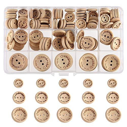 FEPITO Handmade with Love Bottone in legno 15mm 20mm 25mm Bottoni in legno con forma tonda per decorazioni di cucito e lavorazione
