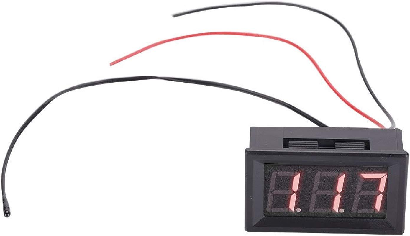 DC12V Digital Temperature Meter Blue LED Display Temp Sensor With Probe Red