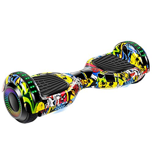 """UNI-SUN Chrome Hoverboard for Kids, 6.5"""" Two Wheel Electric Scooter, Self Balancing Hoverboard with Bluetooth and LED Lights for Adults, UL 2272 Certified Hover Board (Bluetooth Graffiti)"""