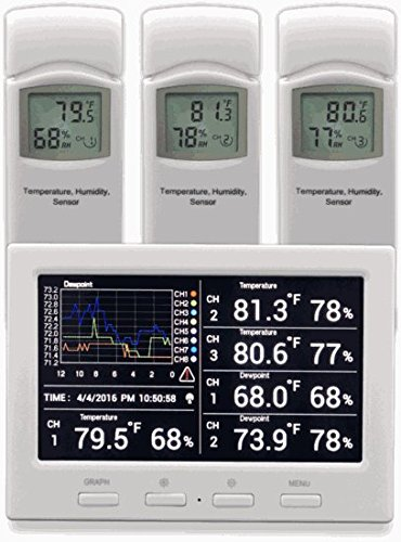 Ambient Weather WS-3000-X3 Thermo-Hygrometer Wireless Monitor w/ 3 Remote Sensors - Logging, Graphing, Alarming, Radio Controlled Clock