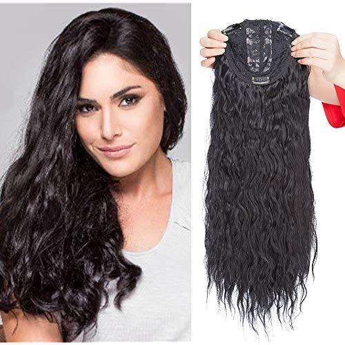 Clip in Extensions Haarteil Topper Toupet Corn Wavy wie Echthaar Perücken mit 3 Clips für Frauen Gewellt Schwarz 20