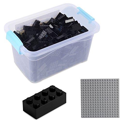 Bausteine - 520 Stück, Kompatibel zu Allen Anderen Herstellern - Inklusive Box und Grundplatte, Schwarz
