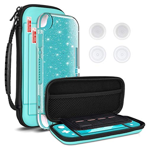 DLseego Funda de transporte para Nintendo Switch lite, funda de transporte portátil 4 en 1 kit de accesorios con 1 funda con purpurina, 2 protectores de pantalla y 4 tapas para pulgar, color verde