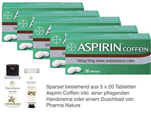 Aspirin Coffein 5 x 20 Tabletten Sparset inkl. einer pflegenden Handcreme o. Duschbad von Pharma Nature
