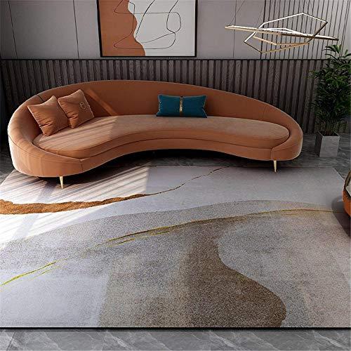 Alfombras Decoracion Entrada recibidor Alfombra Suave de diseño Minimalista de Color Crema marrón fácil de Limpiar Alfombra habitacion Infantil Alfombra despacho 60*90CM