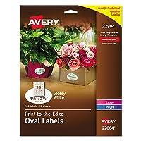 Avery 22804 ラベル 楕円形 2-1/2インチ x 1-1/2インチ 180枚入り 光沢ホワイト