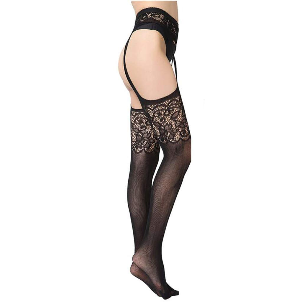 Mifelio Women's High Waisted Fishnet Tights Sexy Wide Suspender Pantyhose Thigh-High Fishnet Stockings(Black,A)