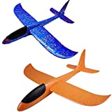 2 Stück Styroporflieger Flugzeug,Fliegende Gleiter Handbuch Gleitflugzeuge Kinder Flugzeug Spielzeug Outdoor Wurf Segelflugzeug Werfen Fliegen für Kinder Plastikflugzeug Kindergeburtstag ca.36cm blau